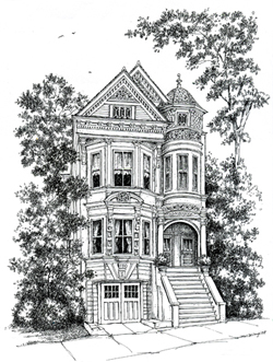 roll over to see a colored version of this house portrait